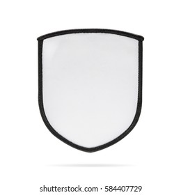 Blank patch or fabric label on isolated background with clipping path. White logo team or emblem for montage or your design.
