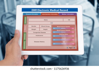 Blank patient information form of EMR application showing on digital tablet screen in someone hand.