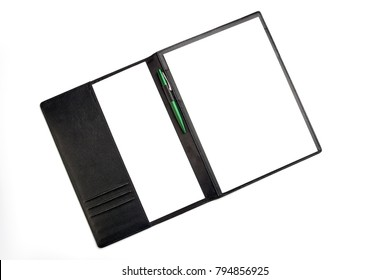 blank, pen, sheet of paper folder isolated. top view