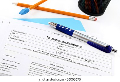 Blank performance evaluation with pen.  Selective focus on heading.