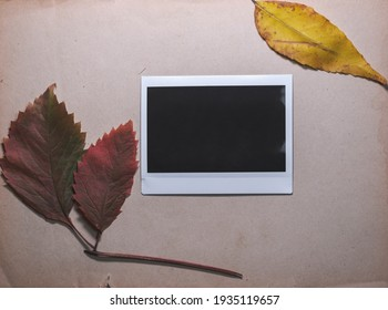 Blank photo frame with autumn leaves on brown background as template for graphic design. Photo cards with space for your logo or text.