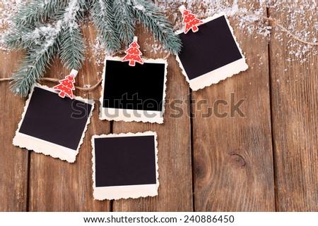Blank Photo Frames Christmas Decor Snow Stock Photo Edit Now