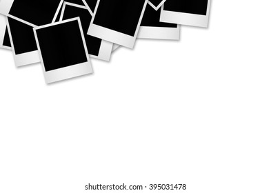 Blank photo papers isolated on white with clipping path.