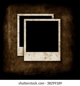 Blank photographs on grunge texture