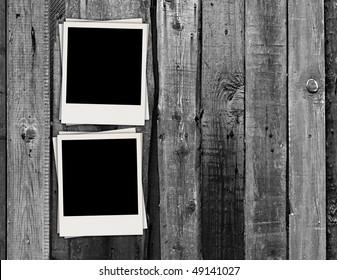 Blank Photos on Vintage Wood Background