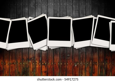 Blank Photos on Wood Background