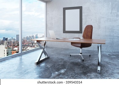 Blank picture frame in loft office with city view, modern furniture and concrete wall and floor, mock up 3D Render