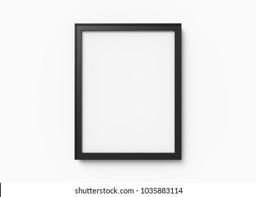 Blank picture frame mockup, 3d render black frame on wall with empty space for design uses, white background