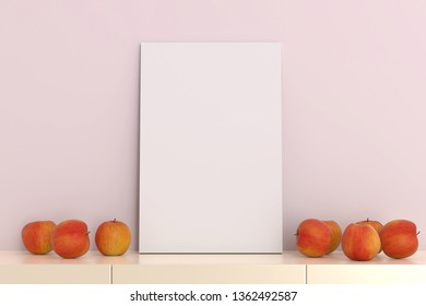 Blank picture frame template in light pink  living room with apple on table