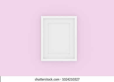 Blank picture frame template for place image or text inside on pastel pink wall.