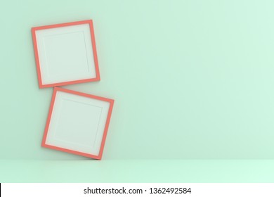 Blank picture frame template for place image or text inside on the wall.
