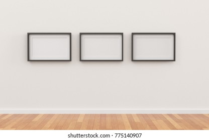 Blank  picture frame templates set in living room.
