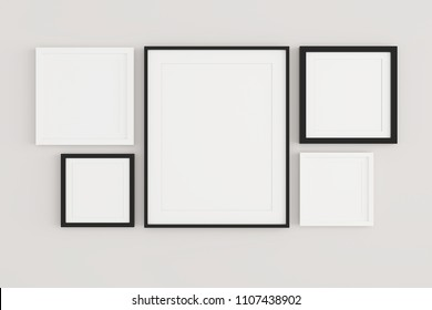 Blank picture framefor place image or text inside hanging on the wall in livingroom