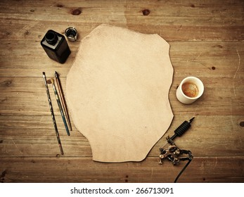 Blank piece of leather is ready for sketch