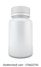 Blank pill container. 3d illustration on white background