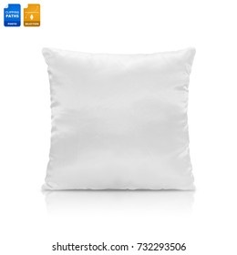 Blank pillow isolated on white background. Empty cushion for your design. Clipping paths object.