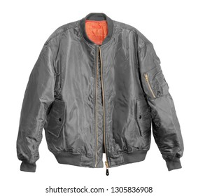 Blank Pilot bomber jacket grey color front view on white background