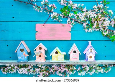 Blank pink sign hanging over colorful birdhouses with butterfly on shelf by spring tree flowers on antique rustic teal blue wooden background; springtime background with painted wood copy space