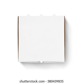 Blank pizza box design mock up top view isolated. Carton packaging pizza box delivery clear mockup. Carton template closed from above view. Meal food boxing logo presentation.