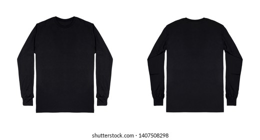 Blank plain black long sleeve t shirt front and back view isolated on white background. ready for your mock up design