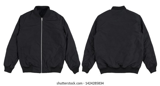 Blank plain bomber jacket isolated on white background. Black bomber jacket. parachute jacket, front and back view. ready for your mock up design template.