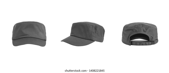 Blank plain combat caps grey color isolated on white background. combat hats set bundle pack. ready for your mock up logo design.