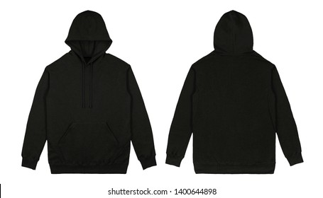 Blank plain Pullover hoodie front and back view with black color, isolated on white background, ready for your mock up design or presentation your design project.