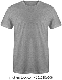Blank plain slimfit t shirt front view heather grey color isolated on white background, ready for mock up template