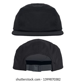 Blank plain snapback hat cap 5 panel in front and back view, isolated on white background. ready for your mock up design or presentation your project.
