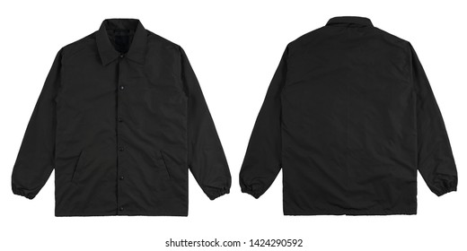 Blank plain windbreaker jacket black color front and back side view, isolated on white background. ready for your mock up design project.