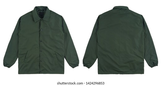 Blank plain windbreaker jacket green color front and back side view, isolated on white background. ready for your mock up design project.