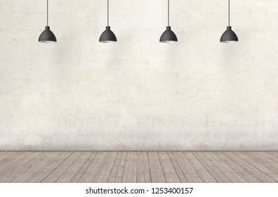 Blank plastered wall with place for text with lamps above