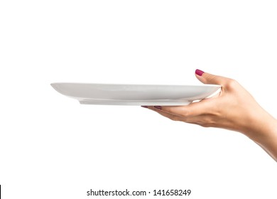 Blank plate in female hand
