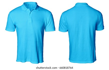 Blank polo shirt mock up template, front and back view, isolated on white, plain blue t-shirt mockup. Polo tee design presentation for print.
