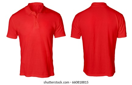 Blank polo shirt mock up template, front and back view, isolated on white, plain red t-shirt mockup. Polo tee design presentation for print.
