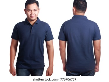 Blank polo shirt mock up, front, and back view, isolated on white. Asian male model wear plain dark blue tshirt mockup. Clothes uniform design presentation for print