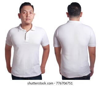 Blank polo shirt mock up, front, and back view, isolated on white. Asian male model wear plain white tshirt mockup. Clothes uniform design presentation for print