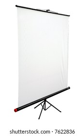 Blank portable projector screen isolated on white