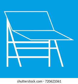 Blank portable screen icon white isolated on blue background  illustration