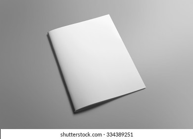 Blank portrait A4, US-Letter, brochure magazine isolated on gray, with clipping path, changeable background