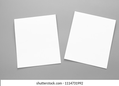 Blank portrait mock-up paper. brochure magazine isolated on gray, changeable background / white flyer paper isolated on gray