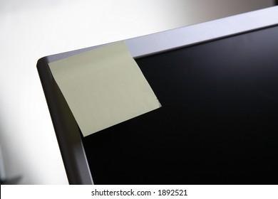 Blank post it note on screen