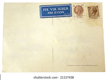 Blank Postcard with Italian postage stamps - space for text