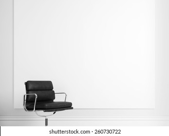 Blank poster and black chair