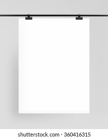 blank poster with  clips on white background