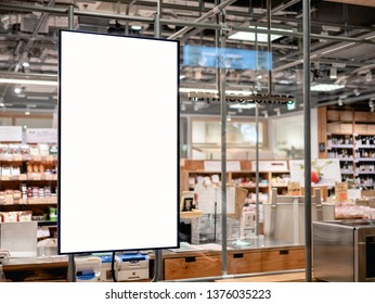 Blank Poster frame template in Supermarket blur People at cashier Advertising banner