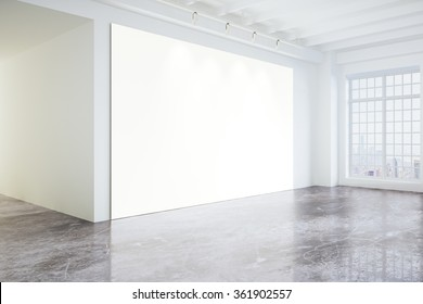 Blank poster in light modern loft gallery with big windows and concrete floor, mock up 3D Render