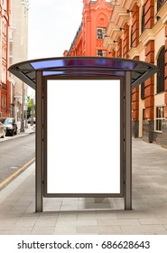 Blank poster mockup in bus stop. 3D illustration