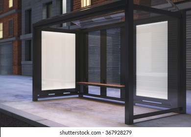 Blank poster on the wall of bus stop on night city street, mock up 3D Render