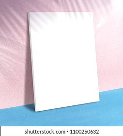 Blank poster at pastel pink wall and blue floor with palm leaf shadow with sunbeam background,Mock up studio room for display of product for advertising on media,Summer holiday vacation presentation